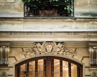 Paris Door Photo Paris Photography France Print Flower Box Neutral Colors Brown Tan Wall Art Home Decor par89