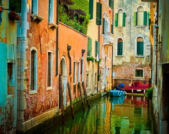Venice Photograph Italy Photograph Canal Photo Bold Colors Reflections Wall Art Home Decor Print ven72