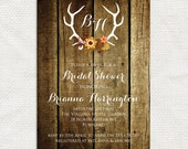 rustic antler invitation - printable file - wedding invitation or bridal shower invitation digital rustic wedding deer