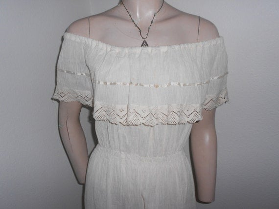 White, Gauzy, Off-Shoulder, Sleeveless, Shawl Collar 70's Dress - Size M