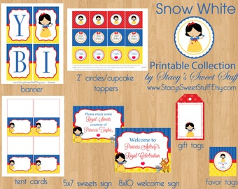 Snow White Inspired Birthday Party Package, DIY, PRINTABLE