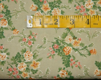 1 Yard Light Olive Green Beige with Peach Salmon Rose Like Floral (698E)