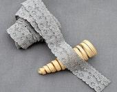 "5 Yards Grey Elastic Lace 1"" Stretch Lace Elastic Lace Trim Elastic Headband Bridal Garter Baby Hairbow Ties Supply EL059"