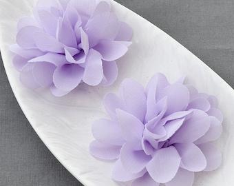 6 Lavender Purple Chiffon Flower Rose Soft Chiffon Fabric Silk Flowers Bridal Wedding Garter Baby Hair Comb Headband Clip SF105