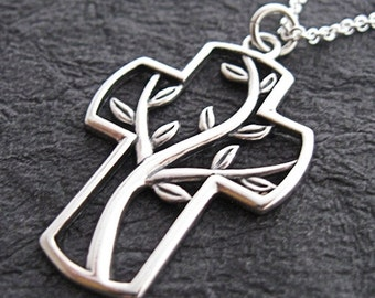 Sterling Silver Crross with Vines  Everyday Necklace - Delicate Necklace - Simple Necklace - Minimal Jewelry - Christian Necklace