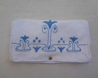 Vintage Toiletry Travel Bag / Hand Embroidered Folding Cosmetic Bag