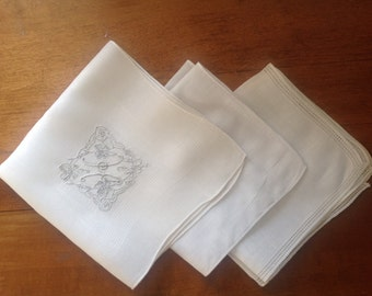 3 Vintage White Handkerchiefs Plain and Monogramed H  (H-28