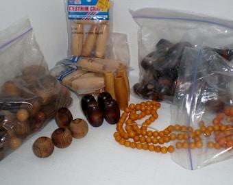 Vintage Wooden Blonde Beads New Old Lot Destash Craft Supplies Macrame Necklace Earrings Belts Home Decor 1970's Orange An Earth Tones