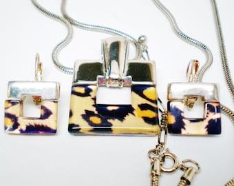 Vintage Necklace Choker & Earrings Leopard  Art Deco Mod  Modern Bright Silver Tone 1980's Retro Chic Statement