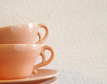 Franciscan Ware set tea cup saucer peach coral mid century vintage