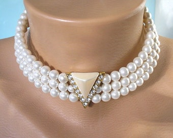 White Pearl Choker, Wedding Jewelry, Great Gatsby, Wedding Jewelry, Pearl Bridal Necklace, Bridal Jewelry, 1970s, Vintage Bridal, Art Deco