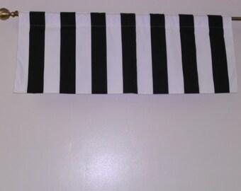 "RTS Lined basic valance black white 3"" stripes 42 x 16 inches,"