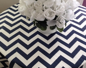 Navy Blue And White Chevron Zig Zag Tablecloth, Round Tablecloth, Oblong,  Square Tablecloth