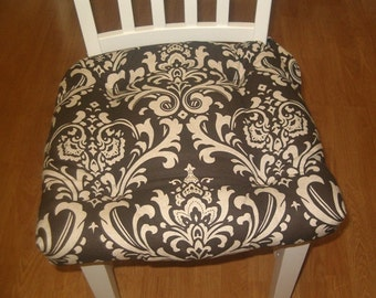 Set of 2, 4, 6, 8 tufted chair pads, seat cushions, bar stool cushions, Brown on natural ozborne damask