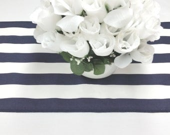 96L x 13W navy blue and white stripe Wedding party table runner, wedding decorations, tablerunners