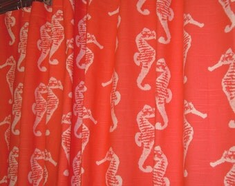 "Two 50"" wide designer window curtain panels, drapes, salmon and white, sea horse cotton, choose size and lining"