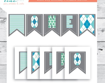 First Birthday Boy Printable Banner - INSTANT DOWNLOAD - argyle and stripes