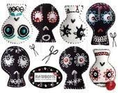 Digital Download Sugar Skulls embroidered on felt black and white Day of the Dead