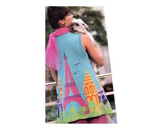 Vintage Picture Sweater Knitting Pattern Eiffel Tower Sleeveless Swing Top Knitting Pattern Paris Landscape Sleeveless Trapeze Sweater Top