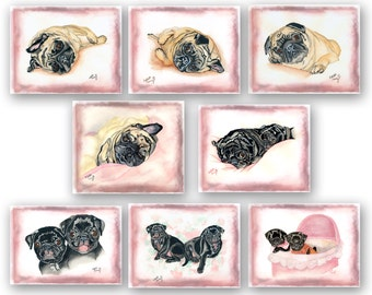 8 Assorted Soft Pug 4x5 notecards
