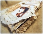NATALIE, Natalie Wood, Fabric Journal, keepsake scrapbook, lace pages, pockets, gloves, hair clips