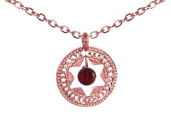 Jewish Star necklace, Star of David, rose Gold necklace, Pearl necklace, Coin necklace, Unique Jewish jewelry, Judaica jewelry