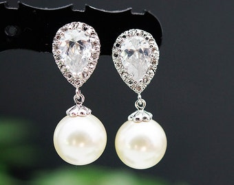 Wedding Bridesmaid Gift Bridal Earrings Bridesmaid Jewelry Bridesmaid Earrings Swarovski Pearl dangle earrings Pearl Earrings (E-B-0004)