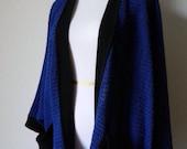 Cobalt & Black Oversized Open Cardigan