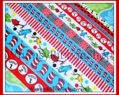 1 yard 3/8 7/8 1.5 Seuss -ical Cat Hat 1 Fish 2 Red Stripes Blue White Red argyle on Grosgrain Ribbon sewing Bow Invitations Thing 1 2 party