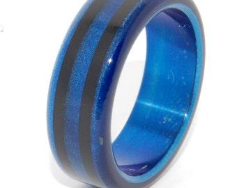 Titanium ring, wedding band, men's ring, woman's ring, titanium wedding ring, blue, black, something blue, tron, resin - OUT OF ORBIT