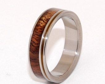 wooden wedding ring, titanium wedding ring, men's ring, women's ring, commitment ring, engagement ring, titanium jewelry - PU'UWAI