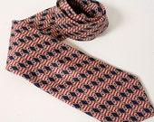 Vintage JoS. A. Bank Red blue white and khaki  Silk Necktie