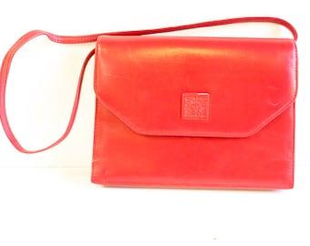 Vintage Anne Klein 1980s Red Leather Purse Handbag