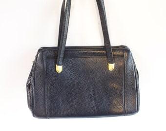 Vintage 1960s Zenith Navy Blue  Leather Handbag