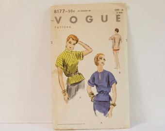 Vintage 1950s Vogue Blouse Pattern 8177 size 14