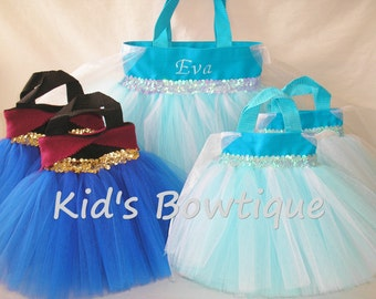 10 Bag Birthday Party Pack - for your Elsa Frozen Movie Party- 9 Princess Party Favor Tutu Bags plus 1 Monogrammed  Tutu Tote Bag