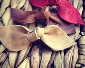 Set of 3 Genuine Leather knot bows Camel, Red and brown Soft clips