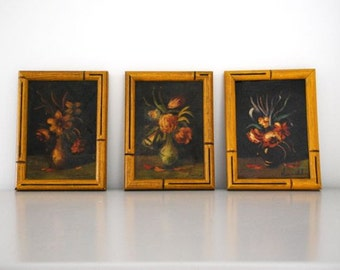 Trio of Vintage Floral Still Lifes in Antique Bamboo Frames