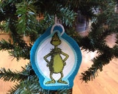 Dr. Seusd inspired Christmas Ornaments (Set of 2) Grinch not a licensed product