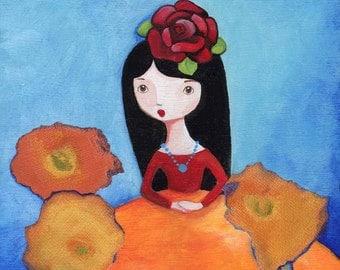 Frida Inspired California Poppy Girl Art