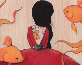 Yamabuki Asian Girl Art Tattooed Girl Art Print