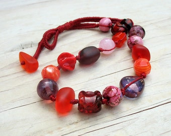Red Bohemian Beaded Necklace - Red Purple Orange Pink Knotted Boho Necklace on Woven Strand -  OOAK