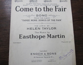 Taylor Martin Come To The Fair Song Sheet Music 1917