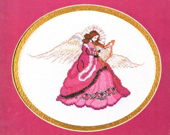 Baroque Angel Long Red Dress Gold and Silver Wings and Halo Hand Held Harp Counted Cross Stitch Embroidery Craft Pattern Leaflet