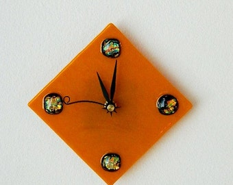 Orange Sunshine Fused Glass Clock, Gorgeous Rich Brunt Orange with Fascinating Dichroic Orbs, Original Art Piece