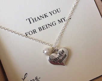 CUSTOM WEDDING delicate sterling necklace for bridesmaid, flower girl, maid of honor any custom color bead or crystal