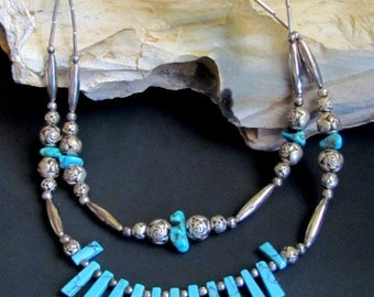 Two Strand Southwestern Faux Turquoise Fringe with Genuine Turquoise Nuggets Necklace