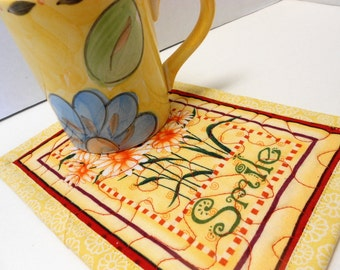 Quilted Mug Rugs Snack Mats Smile Yellow Daisies by SEW FUN QUILTS