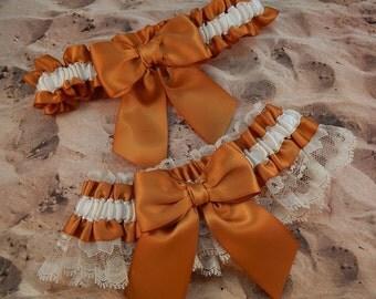 Gold Ivory Satin Ivory Lace Wedding Bridal Garter Toss Set