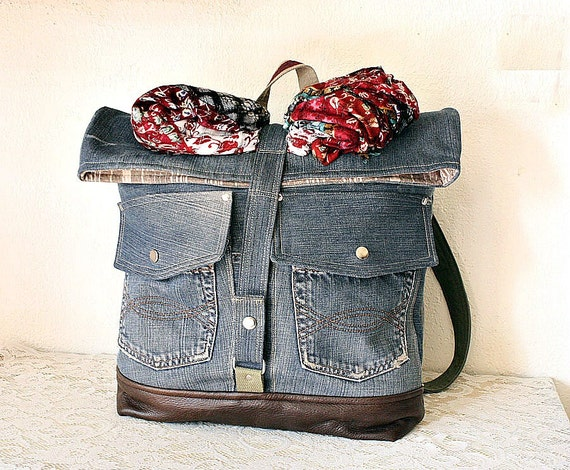 Upcycled Denim Foldover Backpack with Leather trim Unisex  Back to school bag -- Ready to Ship--